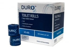 Caprice Duro Toilet Rolls 2Ply 400sheets - 48 Rolls per cart