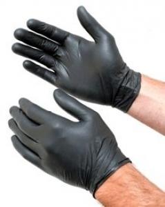 NITRILE Gloves Powder Free BLACK - SMALL 100 gloves per park