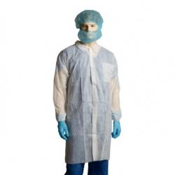 Bastion Disposable Lab Coats 100pcs XXL (Polypropylene, White, no Pocket )