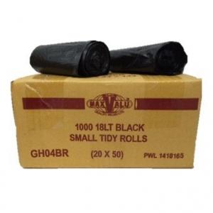 Bin Liner 18lt Black Tidy Bag Roll 51x43cm