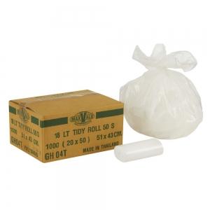 Bin Liner 18ltr White Tidy Bag Roll 51x43cm