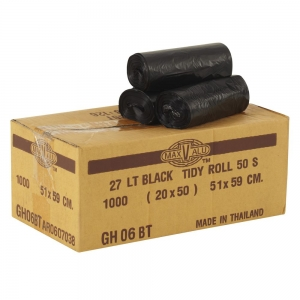 Bin Liner 27lt Black Tidy Bag Roll 59x51cm