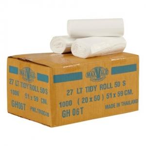 Bin Liner 27lt White Tidy Bag Roll 59x51cm