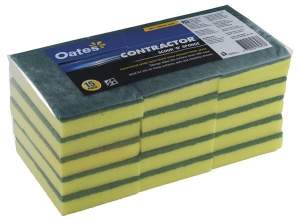 Contractor Scour 'N' Sponges 15x10cm Green/Yellow (15 pack)